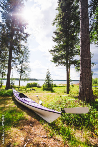 Fototapety, obrazy: A purple sea kayak (touring kayak) is lying in the grass close to the ocean in a beautiful Scandinavian forest setting. Location: Northern Sweden.