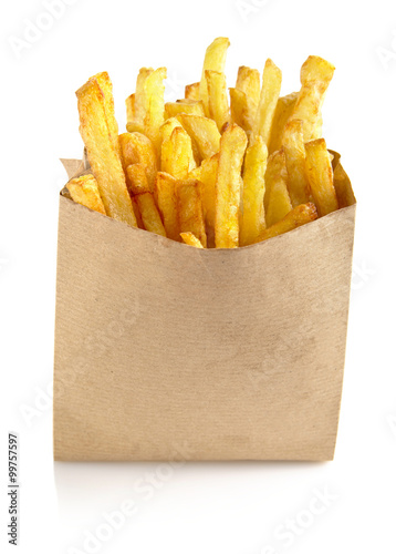 French fries in the paper bag isolated on white Poster