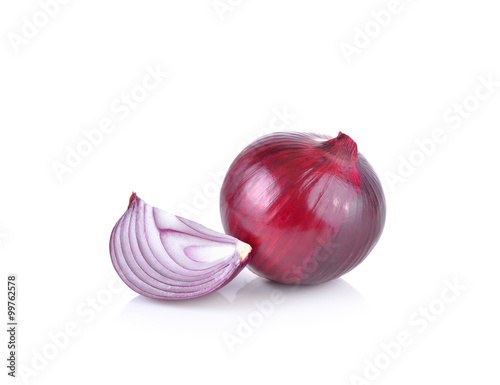 Fotografie, Obraz  Red onion on white background