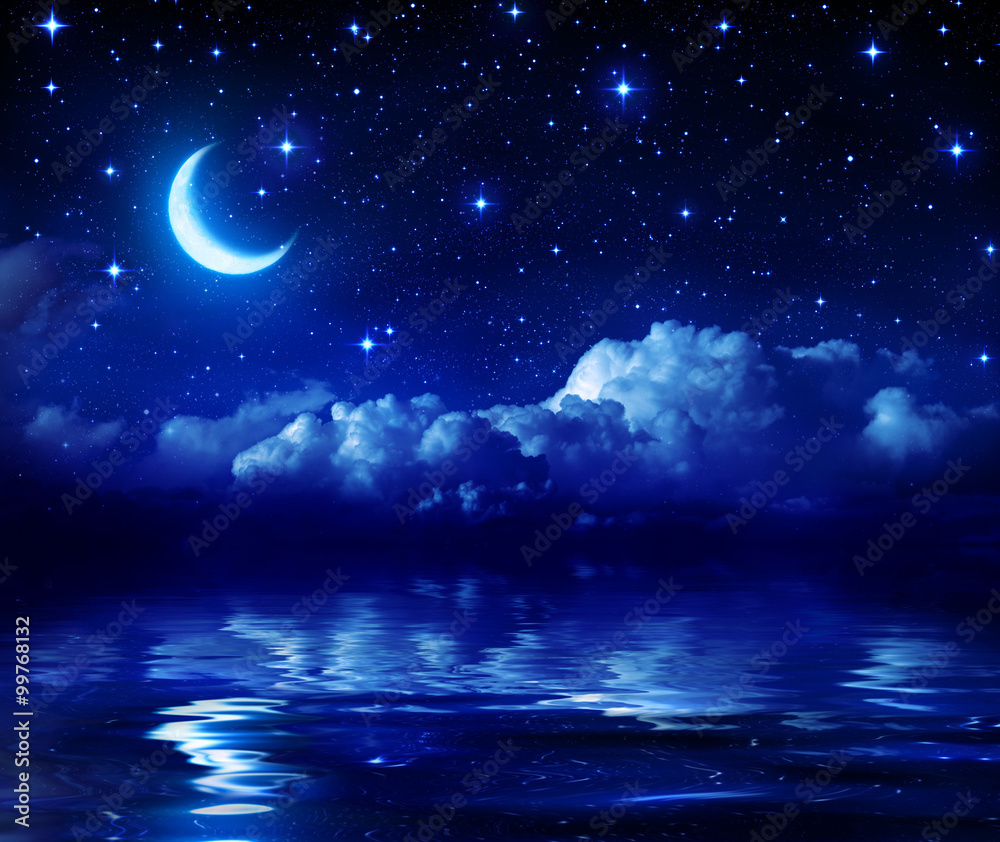 Fototapeta Starry Night With Crescent Moon On Sea