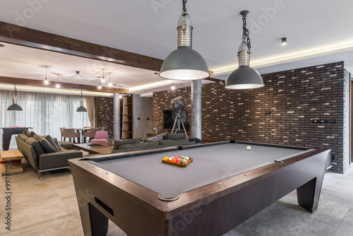 Fotografie, Tablou  Interior of a luxury living room with billiard table
