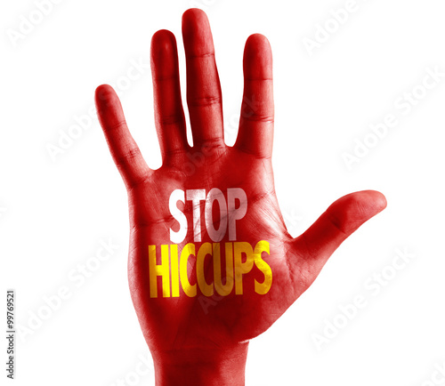 Stop Hiccups written on hand isolated on white background Canvas Print