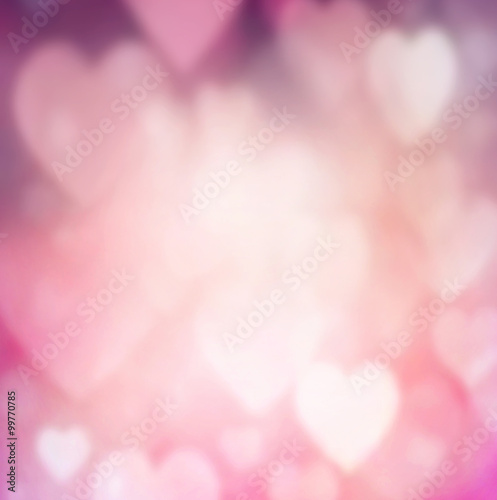 Fototapeta Blur hearts space romantic background. obraz na płótnie