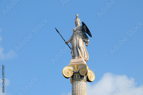 Statue of Athena in Street University, Athens Canvas Print