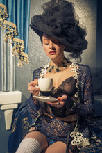 Retro Portrait Of A Girl With A Morning Cup Of Coffee