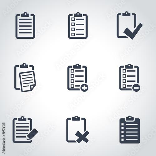 Fotografie, Obraz  Vector black check list icon set