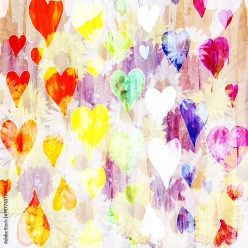 Abstrakcjonistyczny akwareli tło z sercami robić barwiony filte