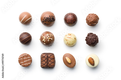 Canvas Print various chocolate pralines