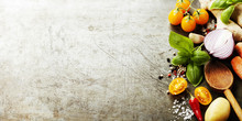 Wooden Spoon And Fresh Organic Vegetables On Old Background
