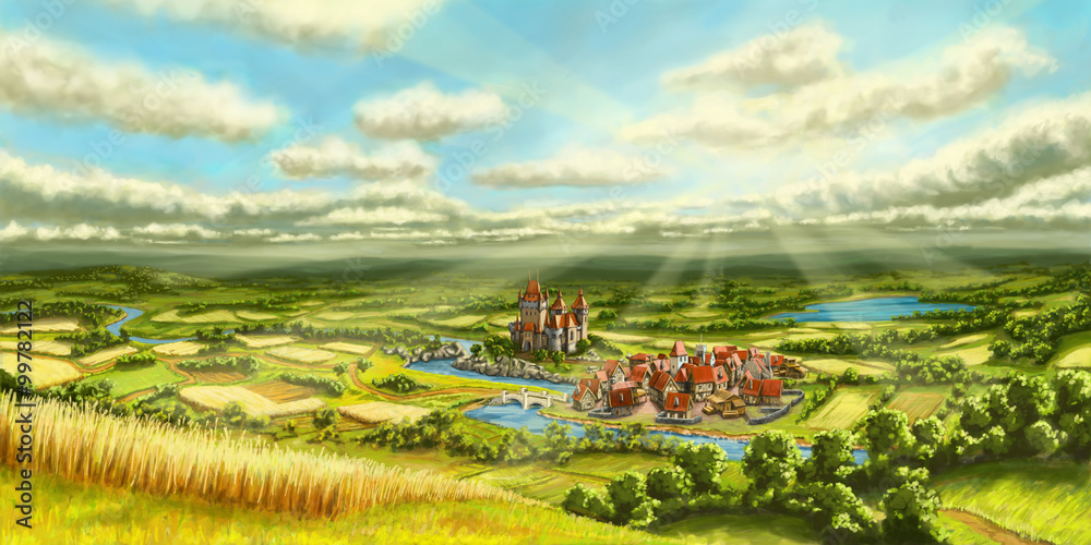 Landschaft Mittelalter Siedlung