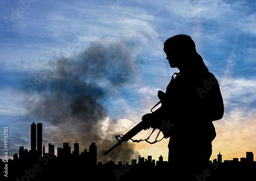 Fotografía  Silhouette of terrorist