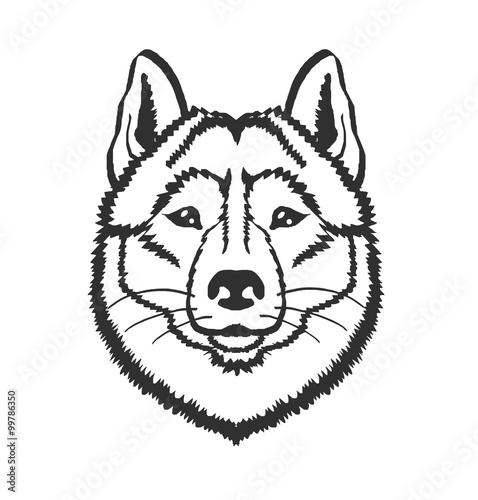 Husky Dog Vector Black Icon Logo Illustration