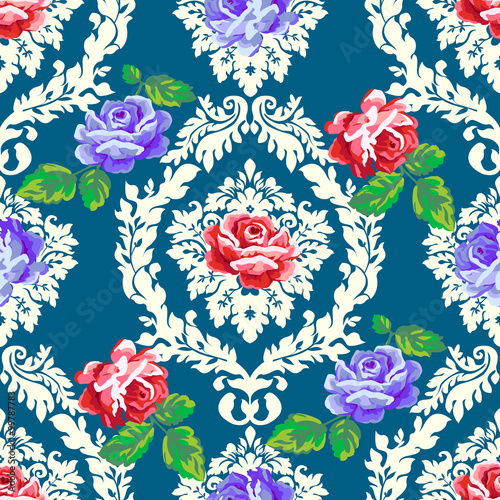 Foto-Tapete - Shabby chic rose damask pattern. Vector seamless vintage floral background  (von lilalove)