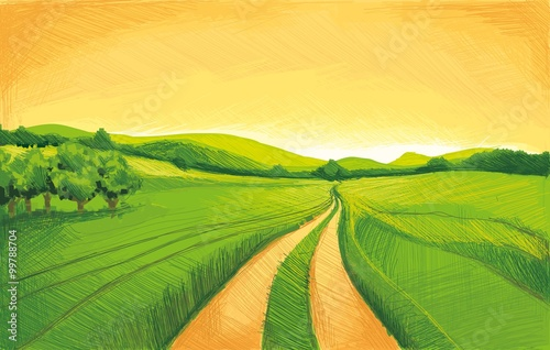 Wall Murals Melon Pencil drawing landscape
