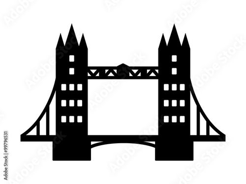 Tower Bridge landmark in London flat icon for apps and websites
