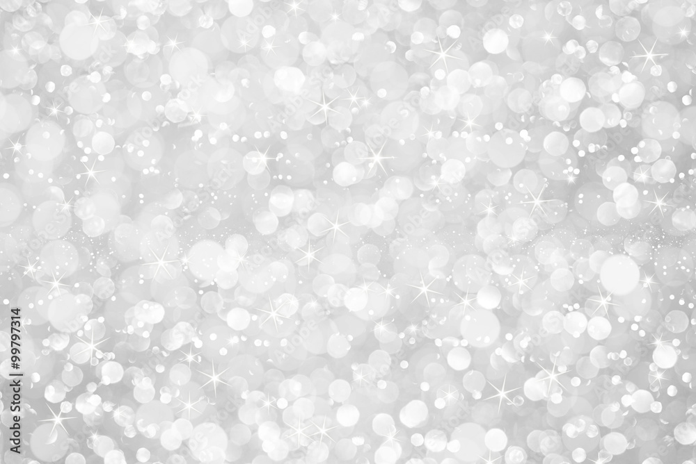 Fototapety, obrazy: white silver glitter bokeh with stars abstract background