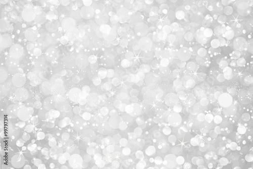 Fototapeta white silver glitter bokeh with stars abstract background obraz