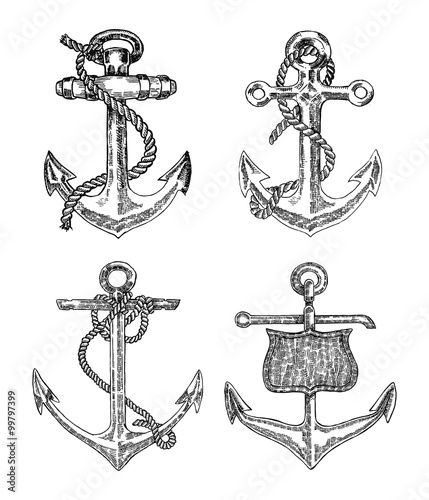 Photo  Vintage anchor graphic on white background. Hand drawn vector