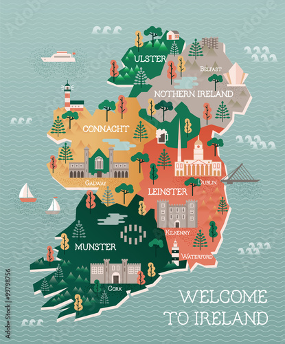 Travel map of Ireland with landmarks and cities Wallpaper Mural