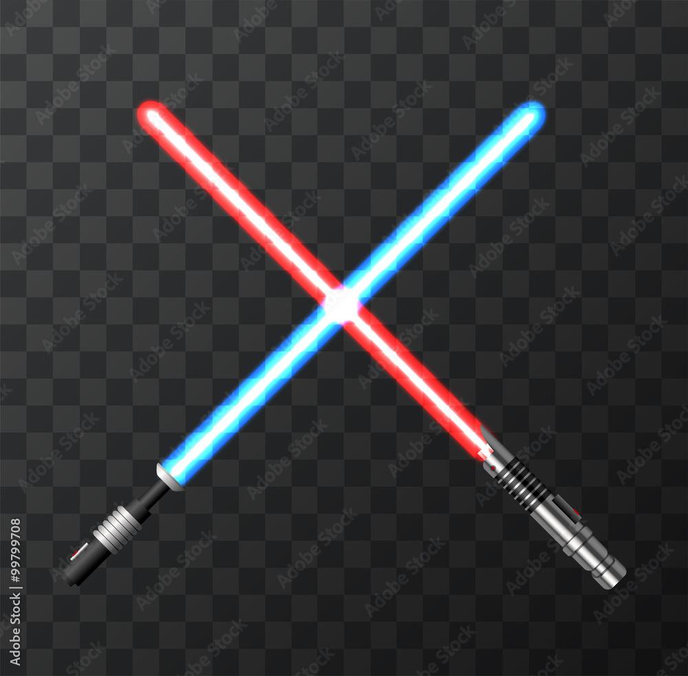 Fotografie, Obraz Vector modern light swords on dark background.