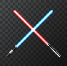 Vector Modern Light Swords On Dark Background.