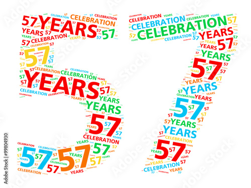 Photo  Colorful word cloud for celebrating a 57 year birthday or anniversary