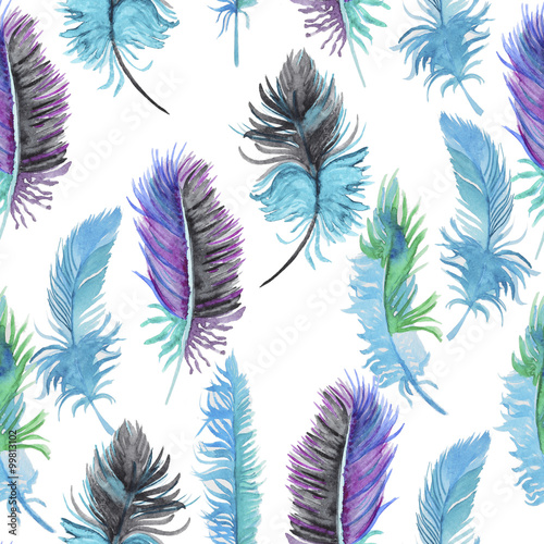 Cotton fabric Watercolor pattern with feathers