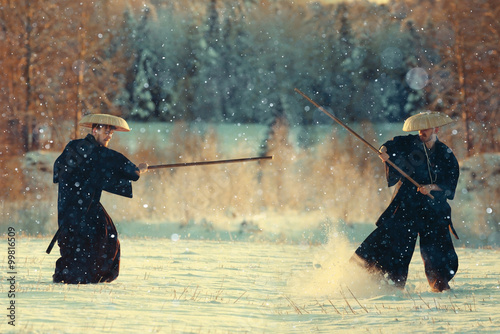 monk warrior snow landscape - 99816509