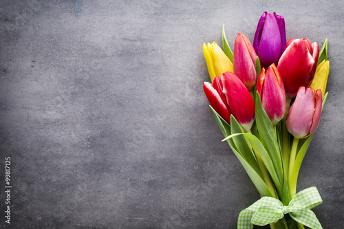 Foto  Tulips on the grey background.