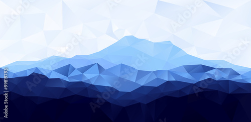 Stickers pour porte Bleu ciel Triangle low poly polygon geometrical background with blue mountain