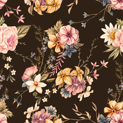 Vector watercolor floral pattern