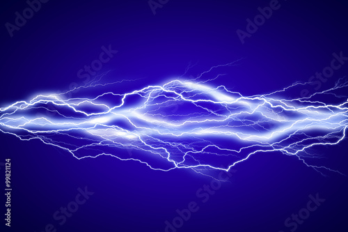 Obraz Lightenings effect background in blue sky - fototapety do salonu