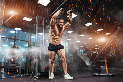 Fotografie, Obraz  Strong Athletic Man bodybuilder training triceps muscles in simulator in gym