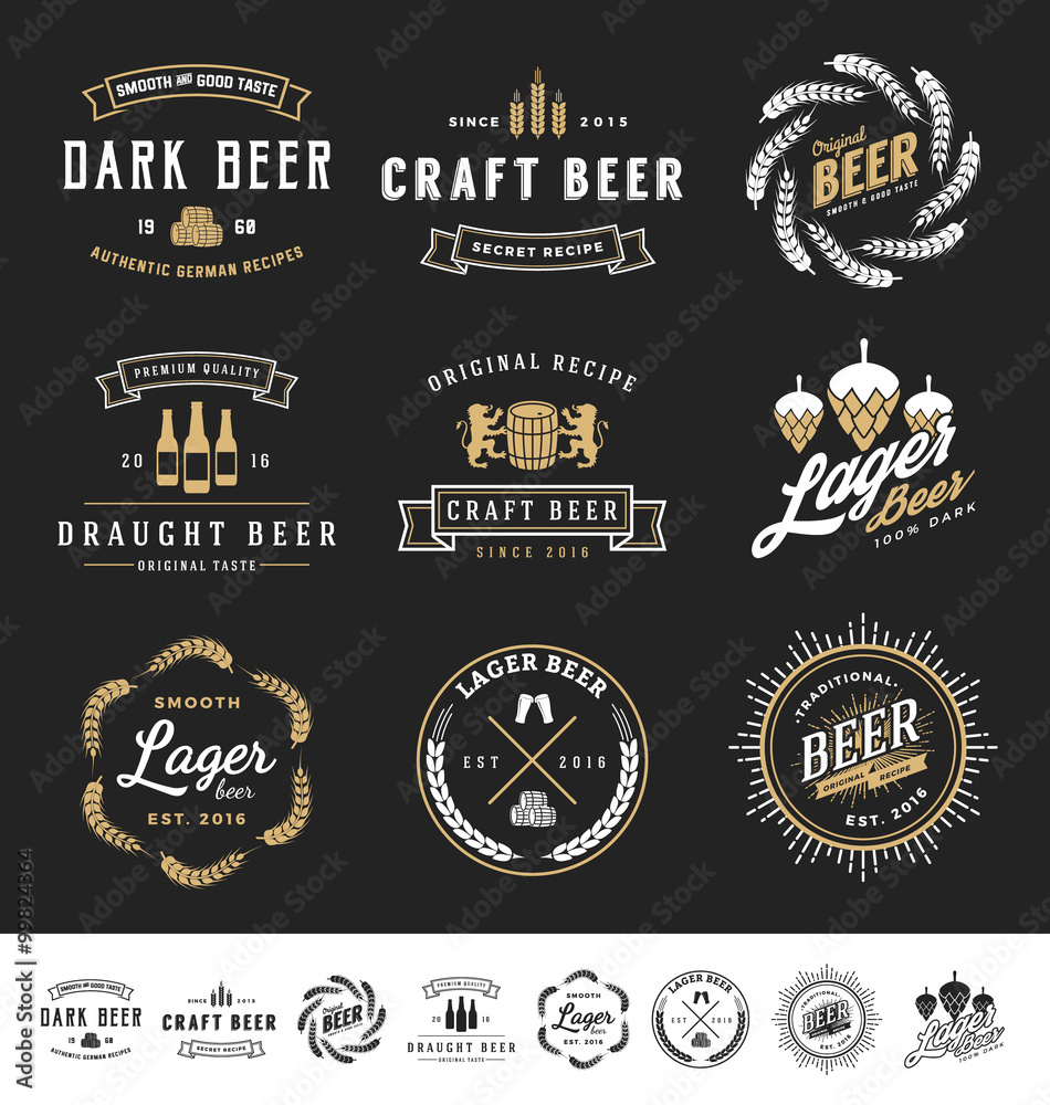 Fototapety, obrazy: Collection of 9 Beer Logos, Badges, Stamps and Labels Design. Vector illustration