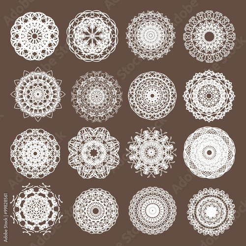 Fényképezés  Round Lace Collection Vector Illustration