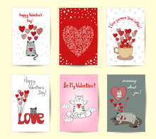 Valentines Card Templates. Set Of Romantic Backgrounds. Cute Cats In Love.