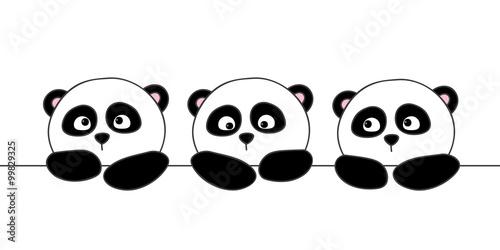 Photo  Cute cartoon pandas isolated on white