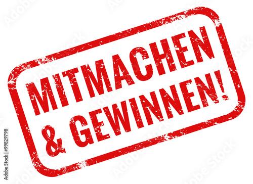 Fotografía  Mitmachen und Gewinnen Stempel rot grunge