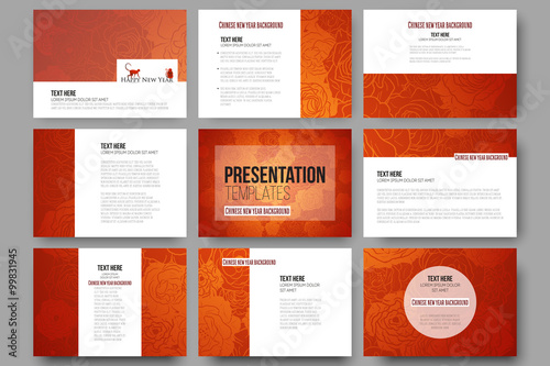 set of 9 templates for presentation slides chinese new year background floral design with