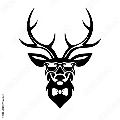 Deer Dressed up in Hipster Style, Simple Logo Design. Vector