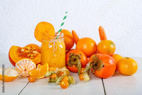 Orange smoothie with pumpkin, persimmon and carrot © Irina Schmidt