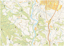 Imaginary Topographic Map Of Territory With Rivers, Akes, Forests And Roads