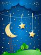 Surreal night, fantasy illustration