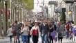 Slow motion of crowded street people walking