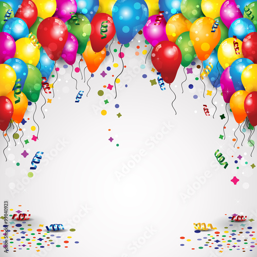 Fotografía  Balloons and confetti for parties birthday with space to insert your text-transp