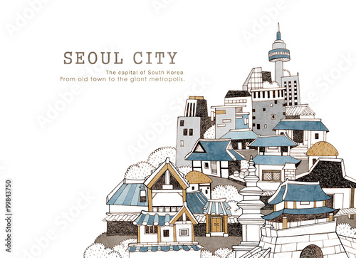 Naklejka premium Miasto Seul i koreańska architektura