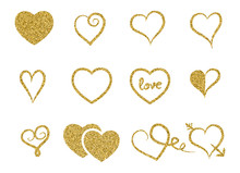 Set Of Decorative Gold Glitter Texture Isolated Hearts On White Background. Romantic Shiny Icons For Valentine's Day, Design, Greeting Card, Scrapbook, Decoration, Party, Banner