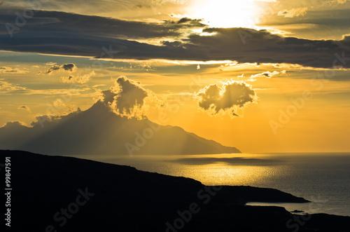 Fotografie, Obraz  Greek coast of aegean sea at sunrise near holy mountain Athos