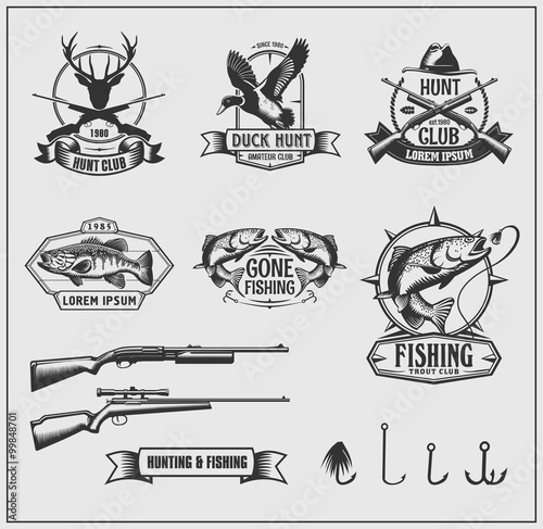 Fotografía  Set of hunting and fishing club badges, labels and design elements