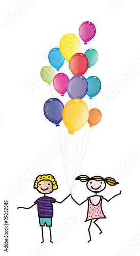 Kindertag, Einladung Zum Kindergeburtstag   Fröhliche Kinder Mit Vielen  Bunten Luftballons